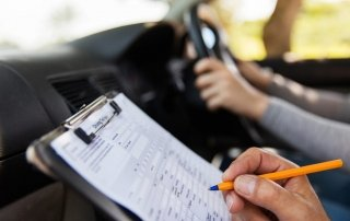 student driver using driving test tips to take driving test